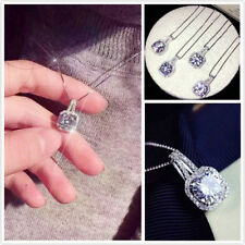 Women Bling Crystal Rhinestones Pendant Silver Plated Chain Necklace Jewelry HOT
