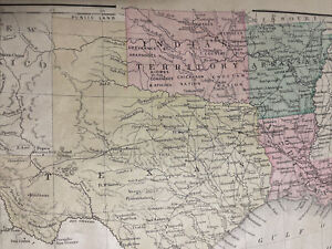 1888 Mitchell's Geography Map Texas Indian Territory Louisiana New Mexico ++