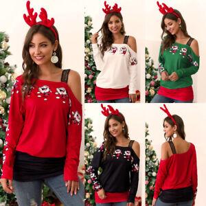 UK Womens Cold Shoulder Santa Christmas Tops Long Sleeve Blouse Xmas T-Shirt Top