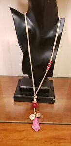 Chico's Beige Cord Necklace with Fuschia Glass Beads and Stone Dangle Pendant
