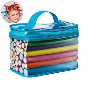42pc Bendy Roller Rods Hair Curlers Twist Flex Foam Perm Styling + Travel Bag