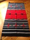 Navajo Design, Southwestern Wool Rug or Wall Hanging 32 x 64  Black/Gray/Red
