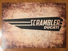 Tin Sign Vintage Scrambler Ducati Motorcycle 2