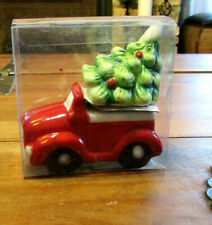 Nib Red Pickup Truck Hauling Christmas Holiday Tree Salt and Pepper Shakers