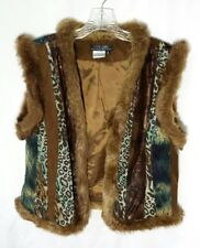 Faux Fur Hippie Vest Boho Womens Nancy Bolen City Girl Lace Brown Multi M Medium