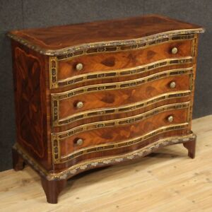 Commode in inlaid wood chest of drawers furniture dresser antique style 900