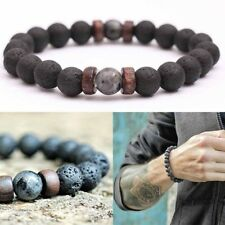 Men Lava Rock Bracelet Elastic Natural Stone Wood Chip Beaded Wrist Chain Gifts