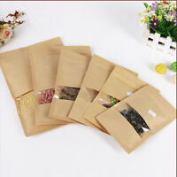 20pcs Paper Stand Up Bag Seal Packaging Window Sealable Food Storage-Pouch·Kraft