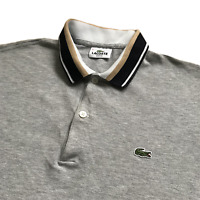"Vintage LACOSTE Polo Shirt | Size 5 | Large L | Grey 00s Slim Fit 42"" Chest"