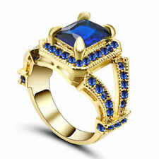 Size 7 Princess Blue Sapphire 18KT yellow Gold Filled Women's Anniversary Ring