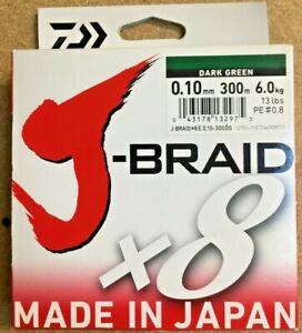 Daiwa J-Braid x8 Strands - Dark Green - 300m Spool - 0.10mm - 13lb/6.0kg