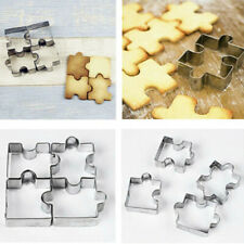 4PCS Stainless Steel Cake Mold Puzzle Piece Pastry Cookie Cutter Biscuit Baking