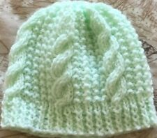 Hand knitted mint green cable pattern newborn baby hat