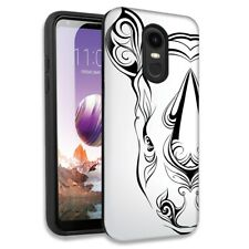 Abstract White Rhino Double Layer Hybrid Case Cover For LG Stylo 4