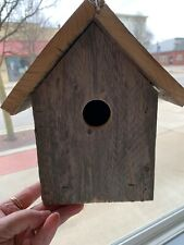 Handmade vintage barn wood bird house with easy clean bottom hanging style
