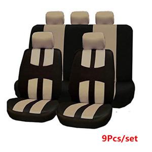 9Pcs Beige Cross Pattern Car Seat Cover Front+Rear Full Set Mat Fit Four Seasons