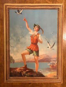 "Vintage 1935 Art Deco Edward Eggleston Fantasy Peter Pan Litho Print 12"" x 16"""