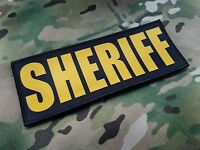 8x3 SHERIFF Gold on Black Plate Carrier Tactical Patch SWAT Hook Backed Placard