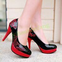 Womens Ladies Chic High Stiletto Heel Court platform Retro pumps shoes Plus Size