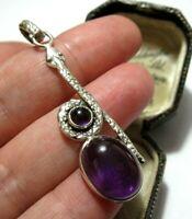 Vintage Style STERLING SILVER Real Amethyst Gem Snake Jewellery Necklace PENDANT