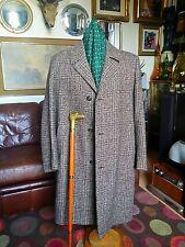 VINTAGE 1950s modernist JAZZ Lindy Hop driway TWEED HERRINGBONE Sopra Cappotto. GRANDE.