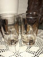 2 Vtg Modern Mid Century  Rx Drinking Glasses Gold Plated Pharmacy, Apothecary