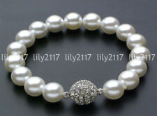 "Beautiful Natural 10mm white South Sea Shell Pearl Bracelet Magnet clasp 7.5"" AA"