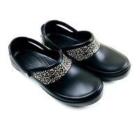 Crocs Women Size 12 Clog Shoes Mercy Work Slip Resistant Leopard Print