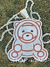 Mens Solid 925 Sterling Silver 1.6Ct  OZUNA TEDDY BEAR  2MM ROPE CHAIN