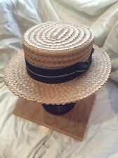 Antique Quality Straws Boater Skimmer Straw Hat Size 7 6a34efe52595