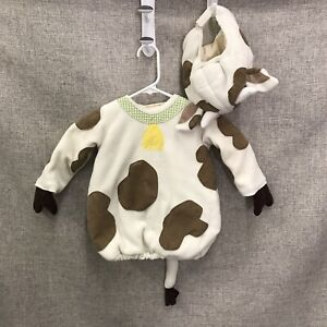 Pottery Barn Kids Plush Cow 2 Pc Costume 12-24 Mo Cream Brown Spots Warm Toddler
