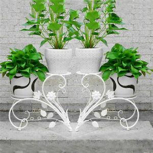 2xBlumenhocker Metall Blumenständer Deko Blumenregal Pflanzenständer Balkon Weiß