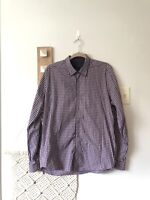 Ted Baker Shirt Size 5 XL Mens Button Up Down Red Black Plaid Stripe Top