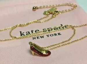 Kate Spade New York Red Glitter Gold Tone High Heel Shoe Pendant Necklace New