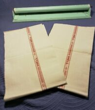 2 Vintage French UNUSED Linen Torchons Towels Ecru RED Stripe with Wooden ROLLER