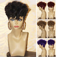 Short Curly Wigs Women Pixie Curly Wavy Hair Full Wigs Synthetic Heat Resistant