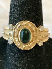 Etruscan 14K Yellow Gold Cabochon Emerald and Diamond Ring   Size 6