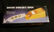 Vintage Wood Dealer Shoe With Weighted Card Feeder, Holds 4 Decks With Box