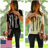 Women Love Print Loose T-shirt Top Ladies Short Sleeve Shirt Off Shoulder Blouse