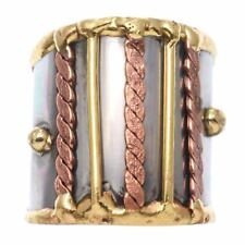 Welded Mixed Metal CUFF RING, Braids & Bars Design, One Size, by Anju