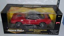 1/18 ERTL AMERICAN MUSCLE 1971 PLYMOUTH 'CUDA RED with BLACK TOP bd