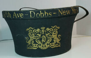 Vintage Dobbs Hat Box Fifth Ave New York Black