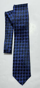 PAUL FREDRICK BLUE TIE 100% SILK HOUNDSTOOTH PRINT 60''/3.5'' NEW WITH TAGS