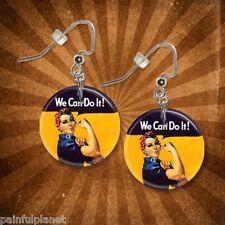 "ROSIE THE RIVETER  1"" Button Dangle Earrings  FREE PIN   USA Seller"