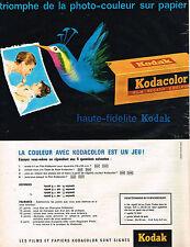 PUBLICITE ADVERTISING 054  1961  KODAK   films KODACOLOR
