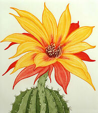 """Arnold Iger """"Sea Urchin Cactus"""" Signed Fine Art Etching Floral Artwork MakeOffer"""
