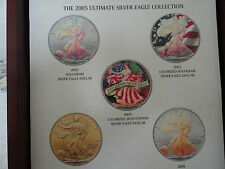 2005 American Eagle Colorized 5 Coins Set with Display box & COA.