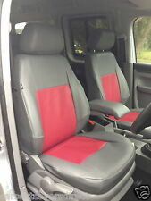 Genuine Fit VW Caddy Van Tailored Seat Covers - Grey with Red Centres