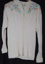 Vintage 40s Womens Cardigan Sweater Embroidered Flowers White Button Down LS M