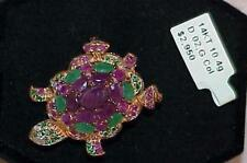 14k 10.00Ct Diamond Ruby Emerald Turtle Brooch Pin Pendant Rose Gold New /Tag